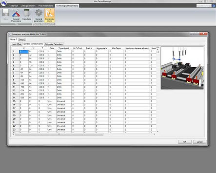 Das Fenster der technologischen Parameter von Tpa TecnoManager, der Software zur Verwaltung der Technologie von Holzbearbeitungsmaschinen