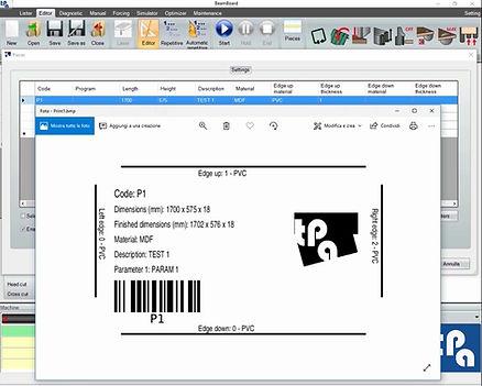 Редактор этикеток Tpa BeamBoard, программы для управления производственным циклом панельных пил