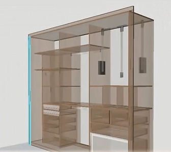Building a custom wardrobe with Lepton Cabinet Armarius, the picture shows the features inside of it