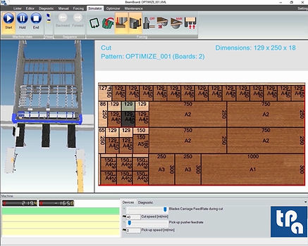 The simulator window of Tpa BeamBoard, the production cycle management software for panel saws, with the cutting order of the panel on the right