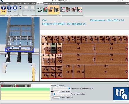 Окно симулятора Tpa BeamBoard, программное обеспечение для управления производственным циклом панельных пил