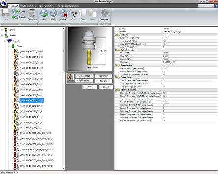 Das Werkzeugauswahlfenster von Tpa TecnoManager, der Software zur Verwaltung der Holzbearbeitungsmaschinen-Technologie