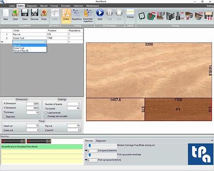 Окно редактора Tpa BeamBoard, программного обеспечения для управления производственным циклом панельных пил