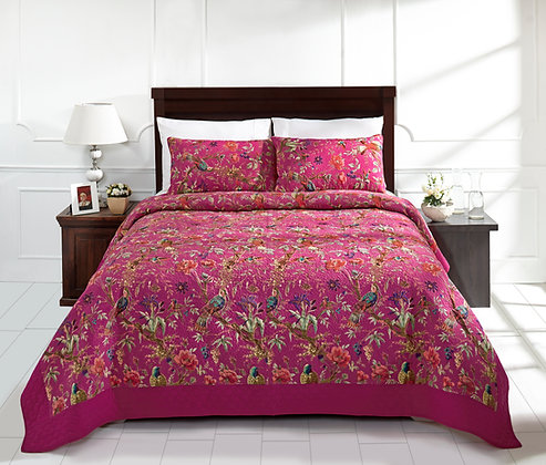 Cotton Quilted  Chirping Bird Bedcover