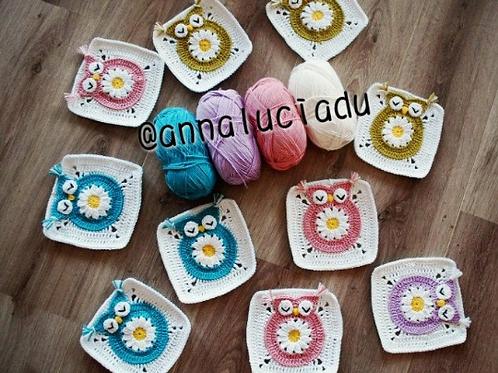 crochet owl square