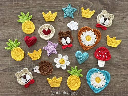11 cute crochet applique pattern pack