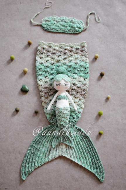 2 Pattern pack crochet baby mermaid tail with mermaid doll