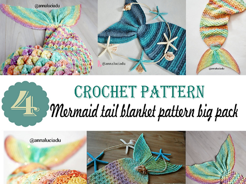 Mermaid Tail Blanket 4 Pack Size babyToddler, Child , teen and Adult