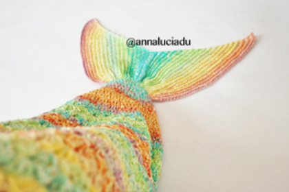 Shell stitch crochet mermaid blanket with opening back PDF Instant Download