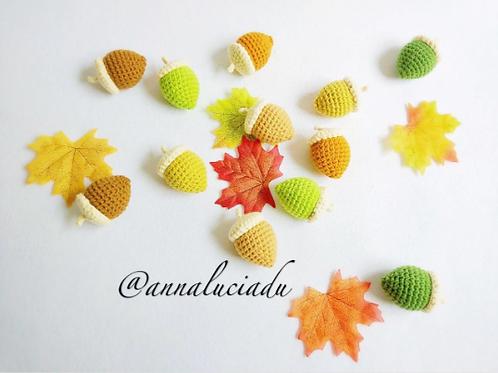 crochet acorn, crochet autumn