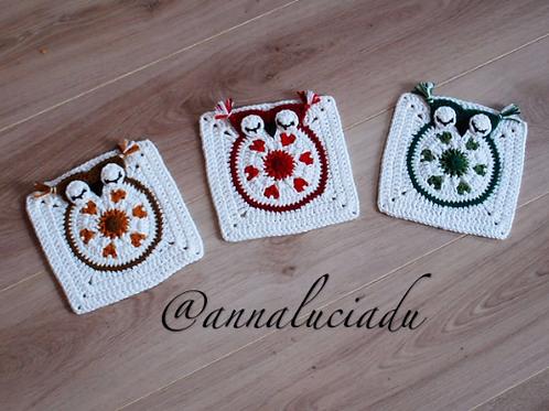 Crochet heart applique owl