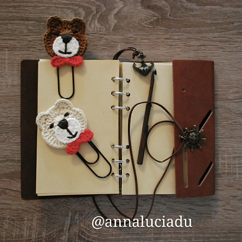 crochet bear bookmark
