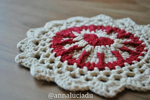 Crochet Heart mandala coaster pattern
