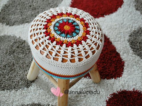 Crochet round stool cover pattern
