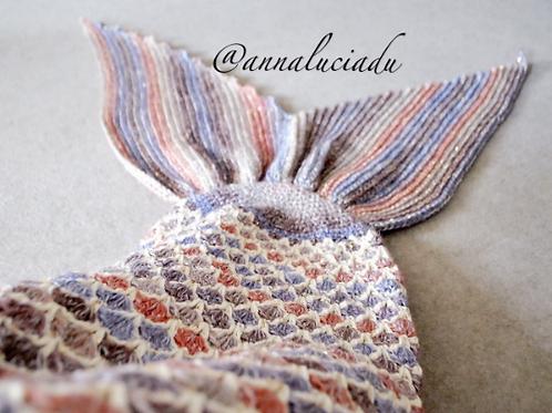 Crochet mermaid blanket with opening back