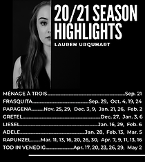 Lauren Urquhart, Soprano Season Highlights 2020 2021