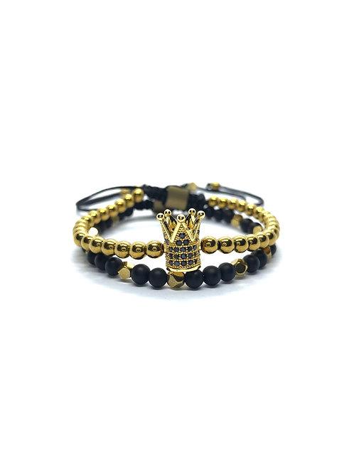 Gold Hematite Crown Set