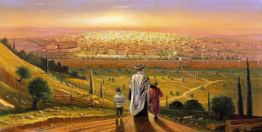 אב וילדיו בשקיעה מול נוף העיר העתיקה - פנורמי