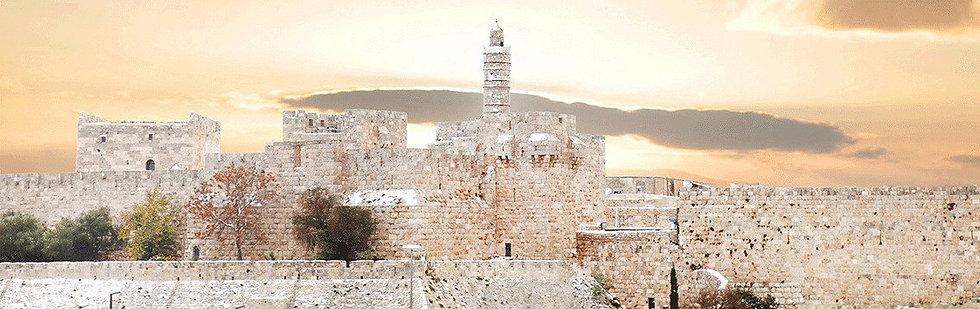 מגדל דוד בשקיעה - פנורמי