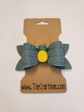 Green Faux Leather Pineapple Bow