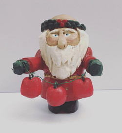 Whittled Santa with Apples