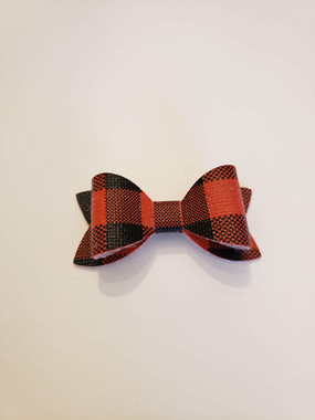 Black & Red Plaid Faux Leather Bow