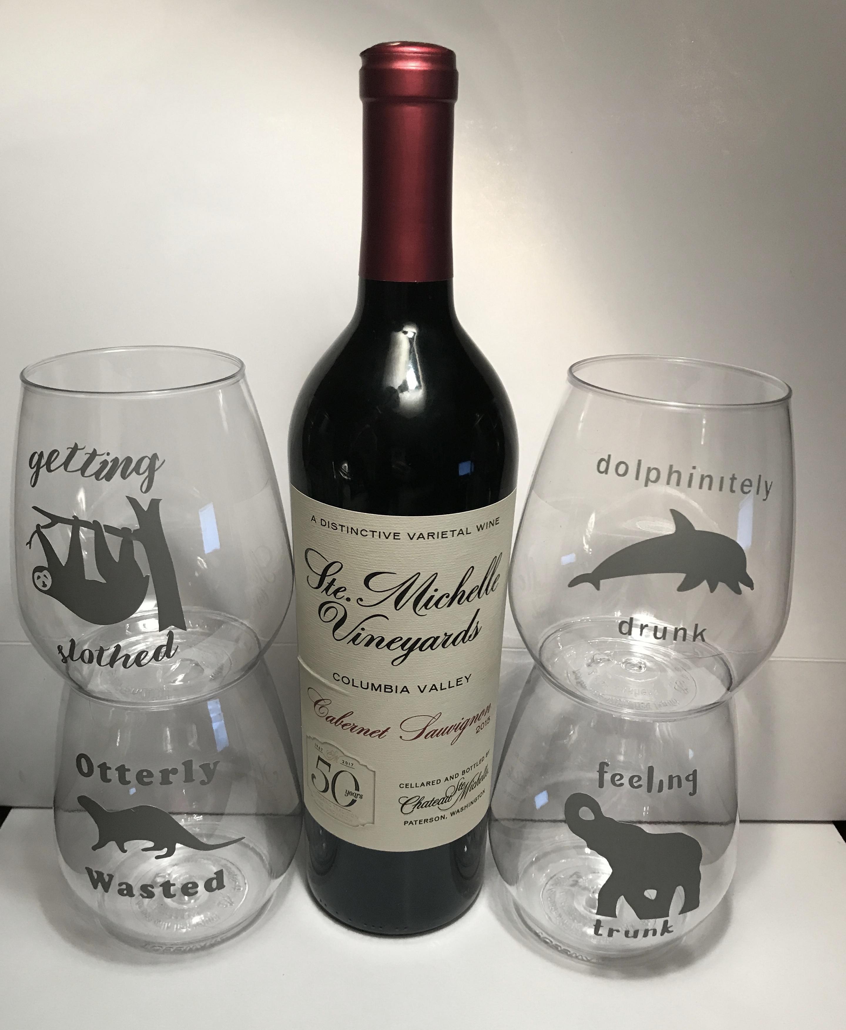 Punny Vinyl Wine Glasses