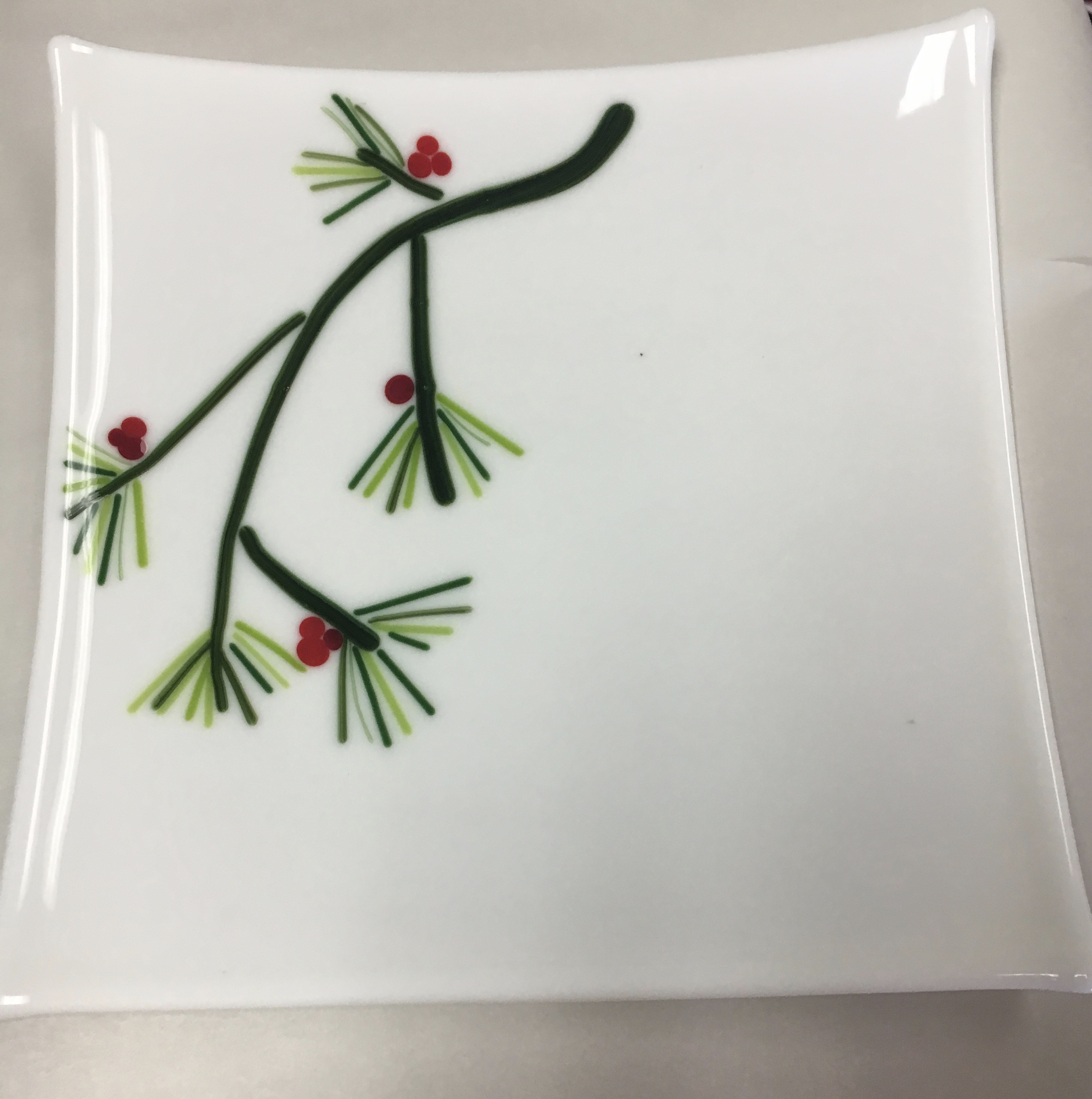 Holly Berry Branch Glass Plate