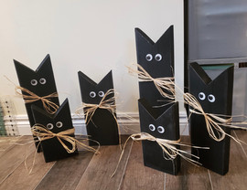 Painted Wood Cats