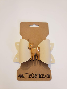 Tan Faux Leather Deer Bow