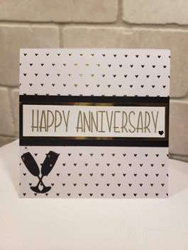 Black, White & Gold Anniversary Card