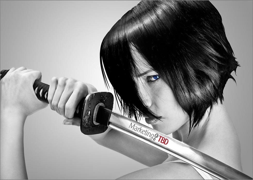 Ninja woman with logo on sword