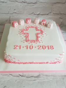Pink Flower Cross Christening Cake