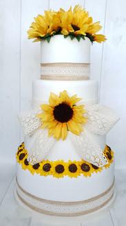 Vintage Sunflowers Wedding Cake