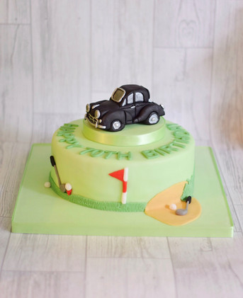 Golf and Car 70th Birthday Cake
