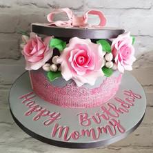 Flower Filled Hatbox Cake