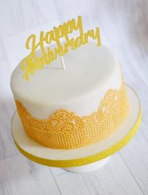 Gold Cake Lace Anniversary Cake