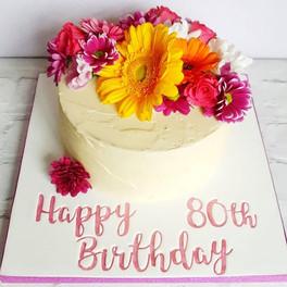 Buttercream and fresh flowers birthday c