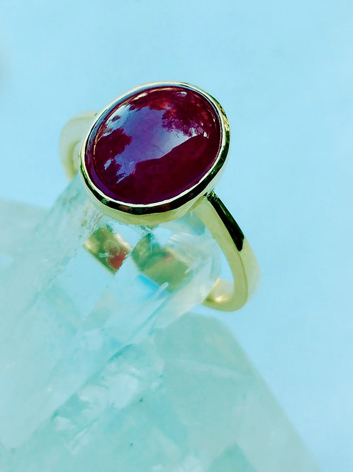Beautiful Capchon Cut African Ruby Ring