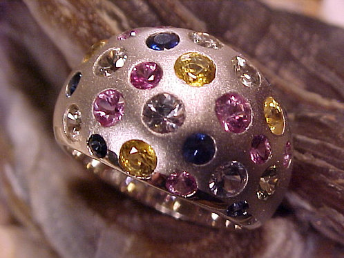 beautiful multiple colors sapphires Ring