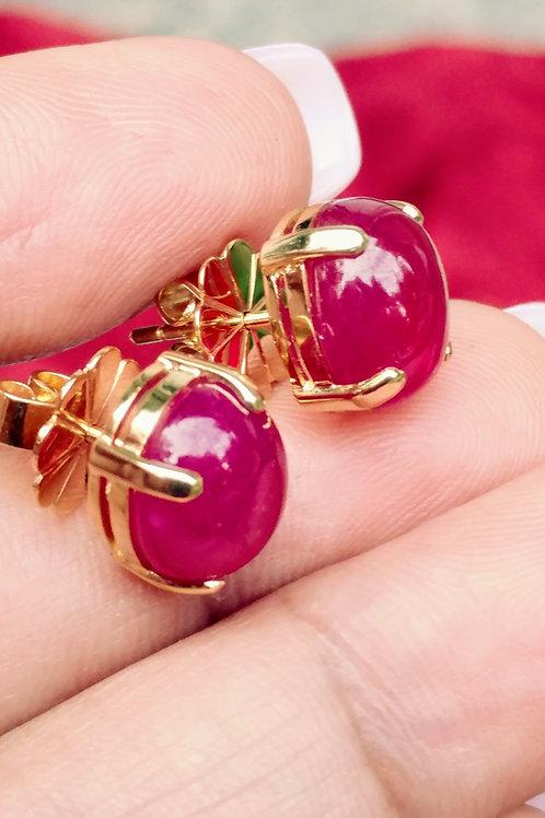African Ruby Earrings Capchon Cut