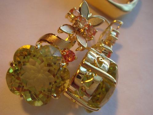 Beautiful Peridot and orange sapphires Earrings