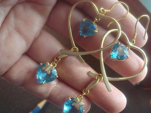 Heart shape with blue topaz Earrings