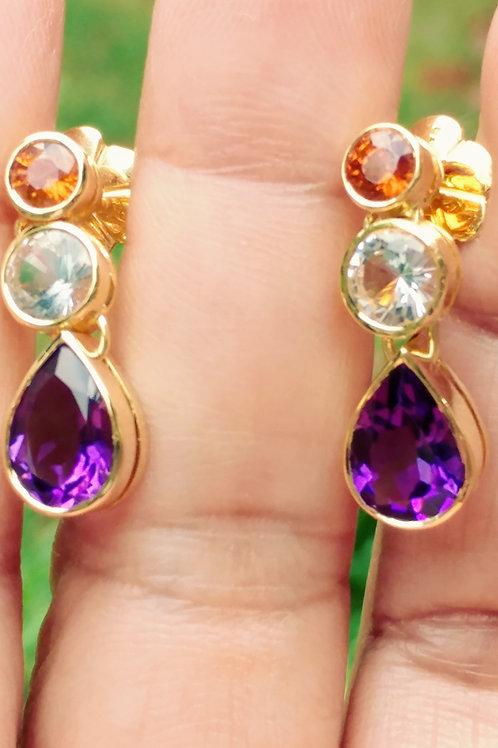 Three stone Earrings with Amethyst,Topaz , Spezirtie