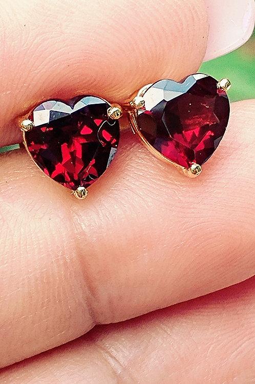 Heart Garnet Earrings