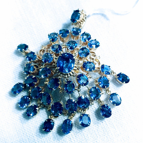 Blue sapphires Pendent and pin
