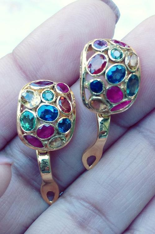 Beautiful Fancy sapphire and Rubies Earrings