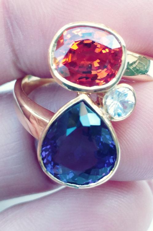 Beautiful Orange sapphire and Amystist Ring