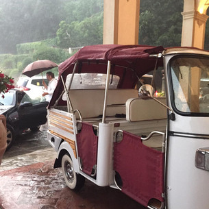 No problem in rainy day!  Tuk Tuk in front of Villa San Michele , Fiesole.