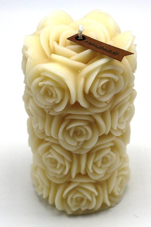Rosenzylinderkerze (natur)